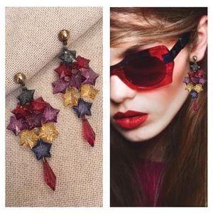 Vintage Resin Acrylic Star Dangle Earrings 1980's